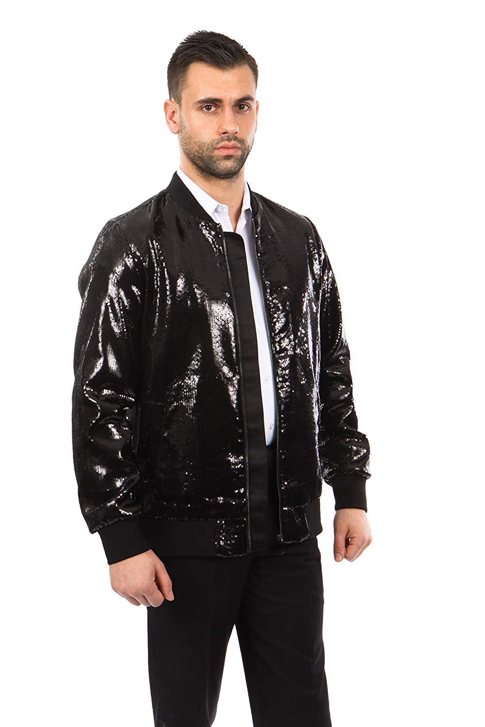 TAZIO Mens Jacket Slim Fit Sequin Pattern Blazer Bomber Jacket
