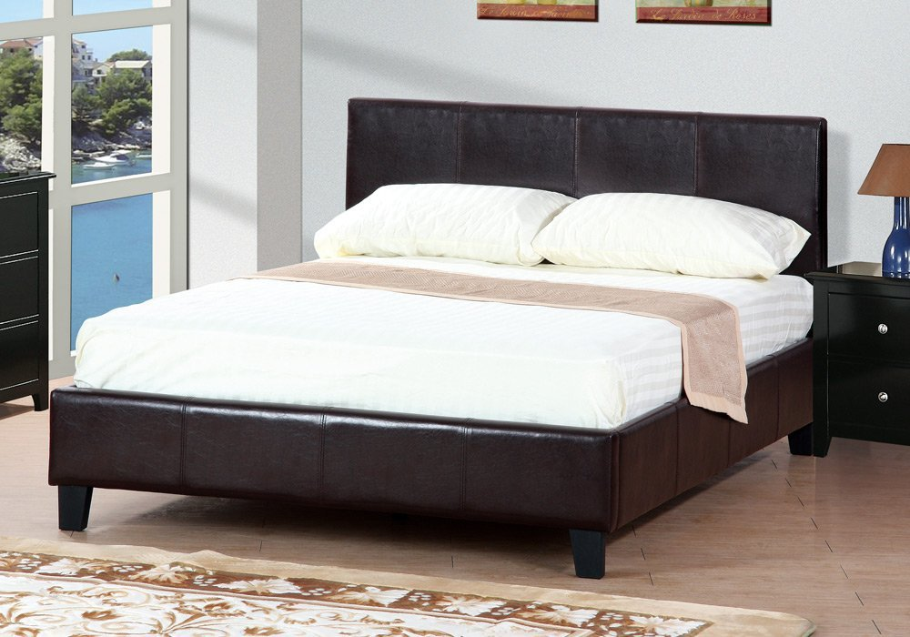 Get Quotations 1PerfectChoice Simply Espresso Upholstered Faux Leather Queen Platform Bed Bedroom Frame Slat