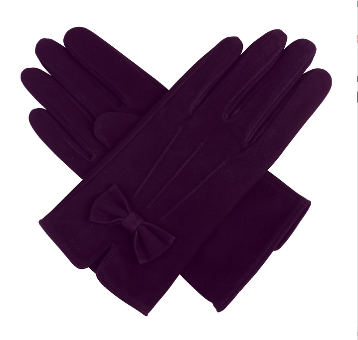 Ladies silk lining purple suede leather gloves with bow to make fashion