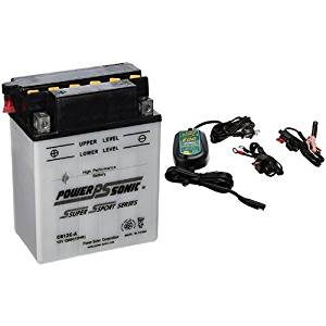 Power-Sonic CB12C-A Conventional Powersport Battery and Battery Tender 022-0150-DL-WH 800 Battery Charger Bundle