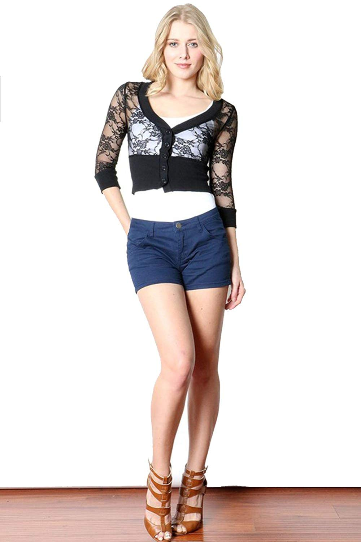 Fashion Secrets Juniors 3/4 Sleeve Smoked Lace Bolero Shrug Cardigan …
