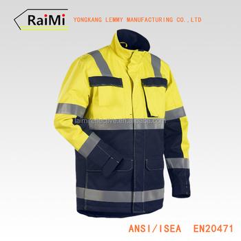 61f8457d1b6 Al por mayor invierno reflectante amarillo impermeable seguridad chaqueta  bombardero hombres diseño chaqueta de alta visibilidad