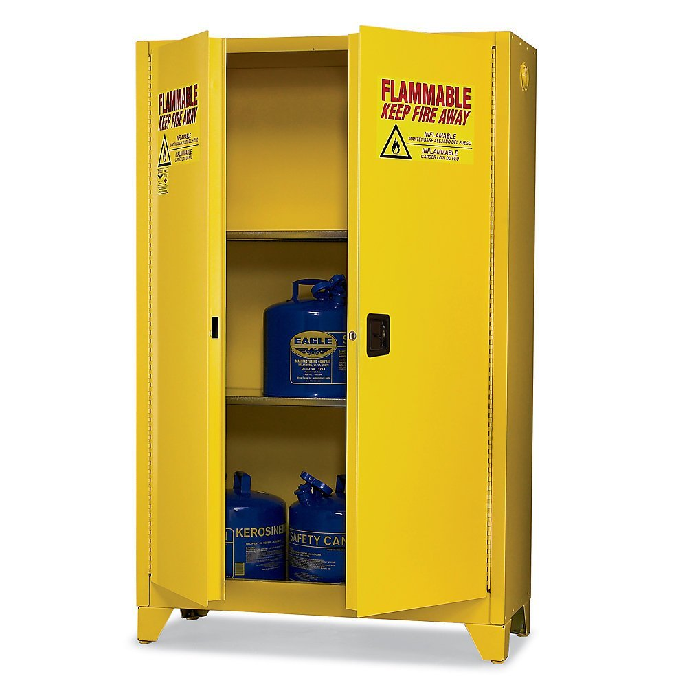 "Eagle 1947LEGS Tower Safety Cabinet for Flammable Liquids, 2 Door Manual Close, 45 gallon, 69"" Height, 43"" Width, 18"" Depth, Steel, Yellow"