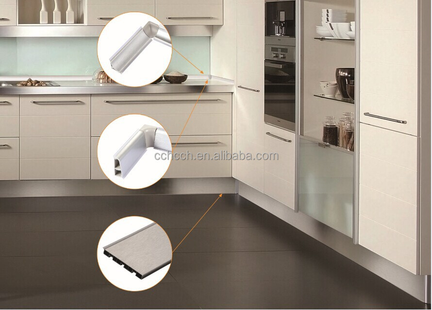 Modern brushed silver aluminium kitchen cabinet skirting for Kitchen set aluminium modern