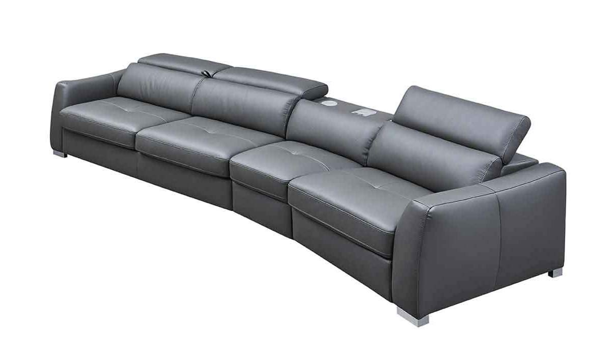 ESF Furniture 312 Leather Right Hand Facing Sectional Sofa in Dark Grey