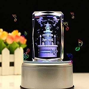 LIWUYOU Christmas Gifts Engraved Crystal 3D Birthday Cake Colorful LED Light Music Box, MP3 base, Large Cake