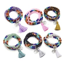 7 Chakra Mala Prayer Beads 108 Meditation Healing Multilayer Bracelet/Necklace with Tree of Life Tassel Charm