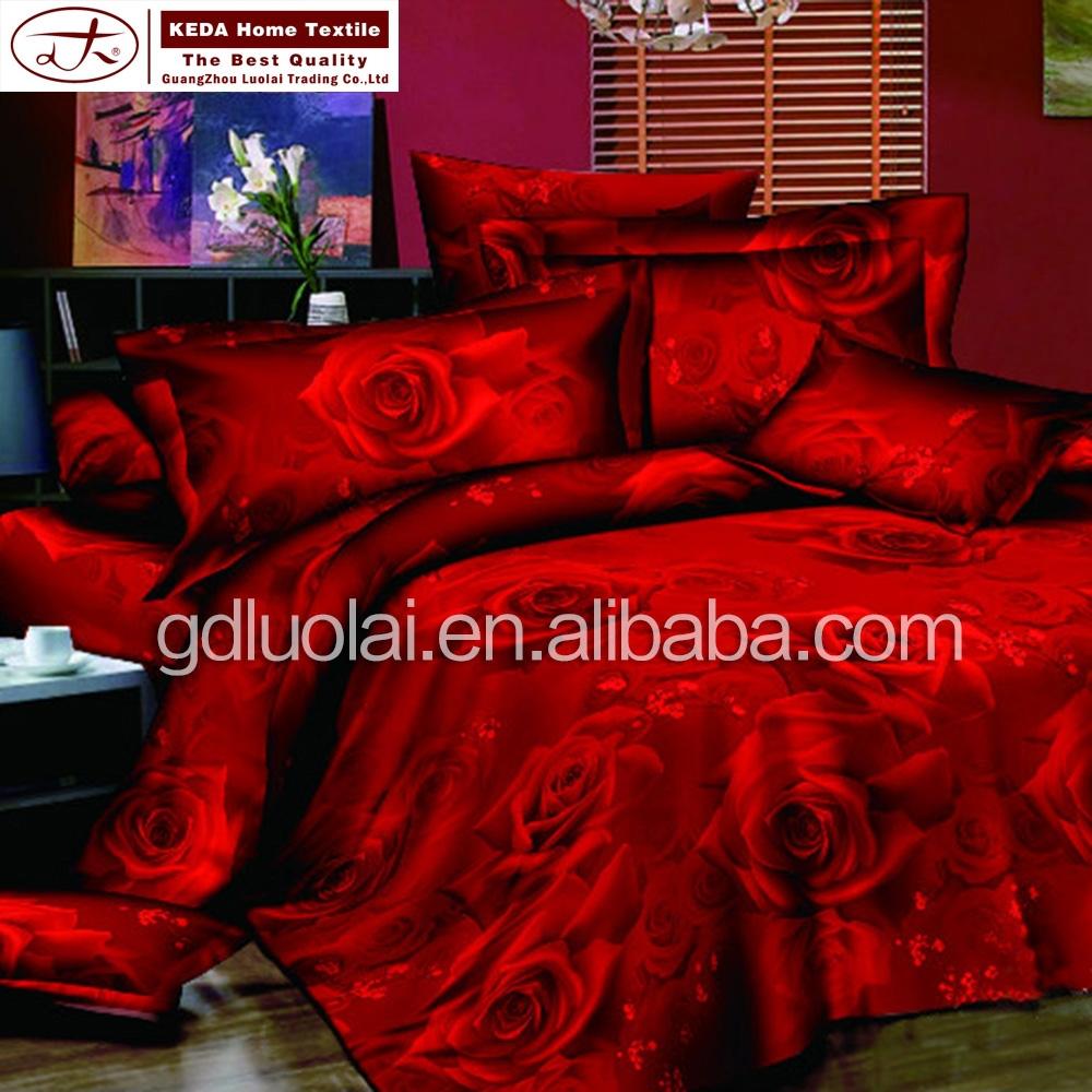 gros chine maison de la literie rose fleur imprim drap de lit en coton 3d ensemble de literie. Black Bedroom Furniture Sets. Home Design Ideas