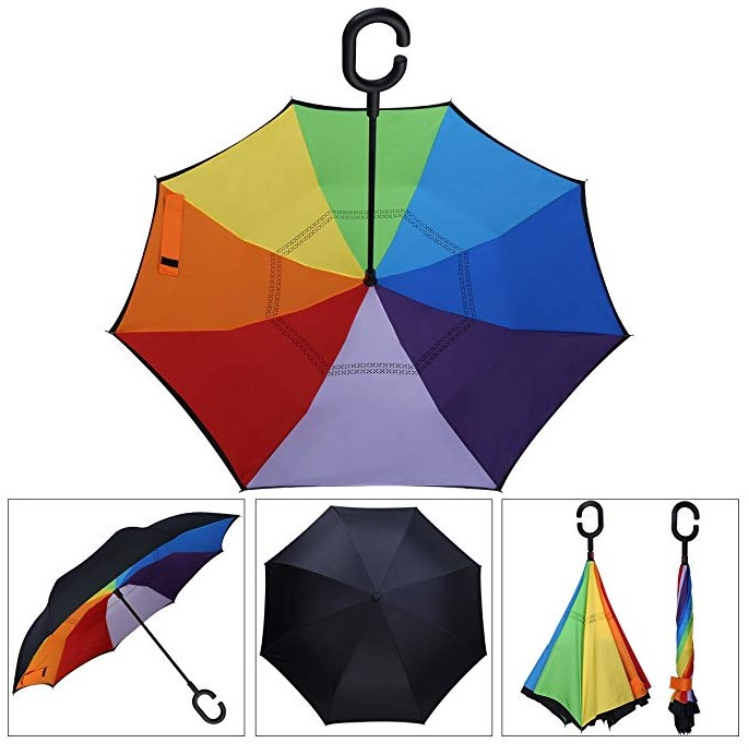 Chinese OEM  C Handle Rainbow Inverted Double Layer Manual Open Umbrella