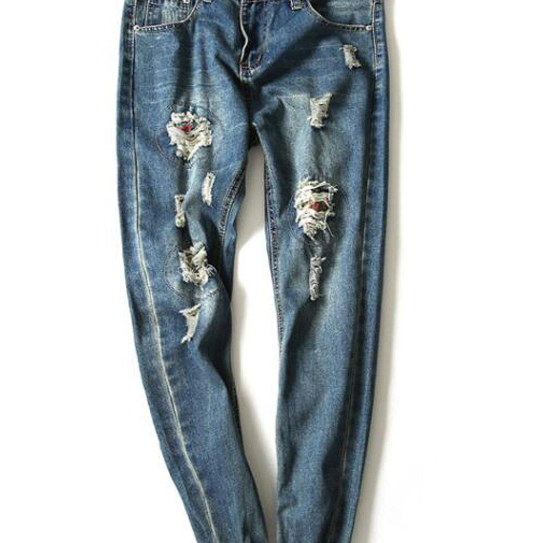 Hip-Hop Men Jeans Casual Denim Distressed Men'S Slim Jeans Pants Brand Biker Jeans Skinny Rock Ripped Jeans Homme