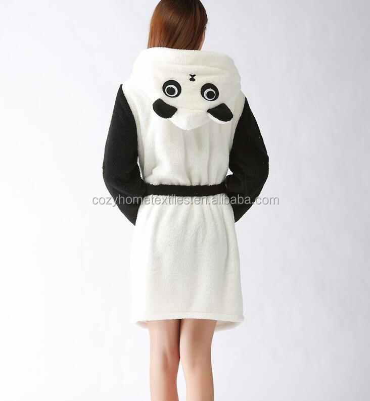 2017 Super Soft Fleece Material Panda Design Women's Bathrobe Robe with Two Ears Great for Homewear and Pajamas Party