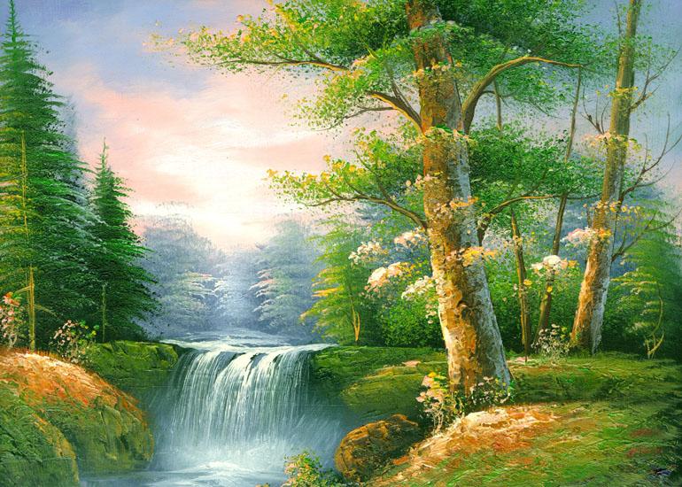50 x60cm beautiful waterfall scenery canvas art print for home decor