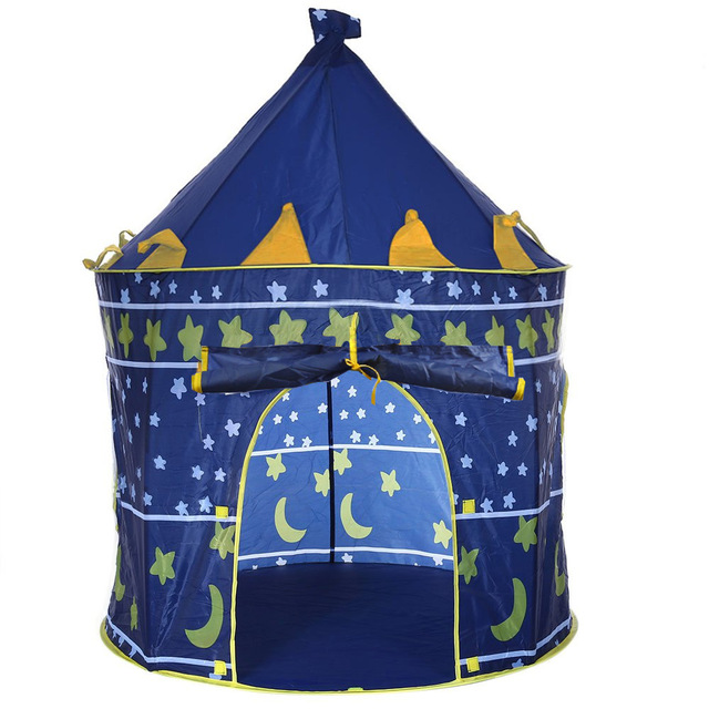 2 Colors Portable Foldable Play Tent Prince Folding Tent Kids Children Boy Castle Cubby Play House Kids Gifts Outdoor Toy Tents