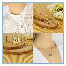 Wholesale Promotion Chunky Necklace Personalized Simple 26 Letters Pendant Necklace