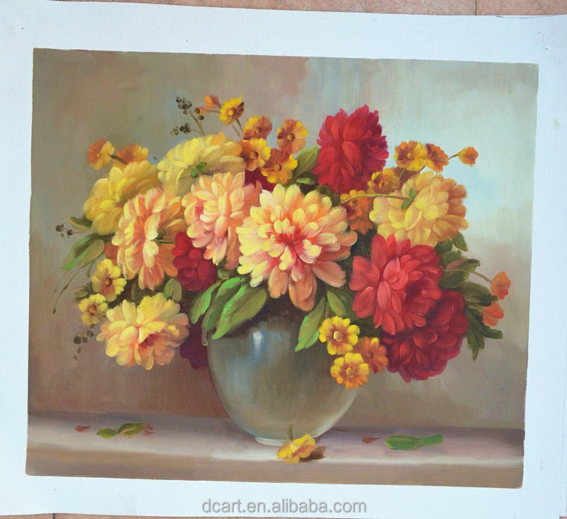 Wholesale Stock Oil Painting Still Life Flower Vase Painting Designs