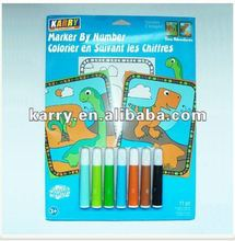 DINOSAUR PAINTING NUMBER SET WITH WATER COLOR PENS 11PC WASHABLE