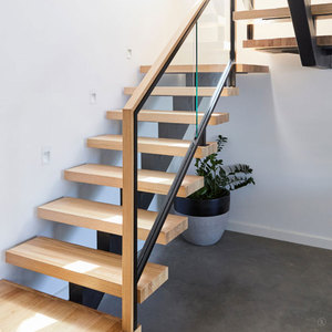Villa Carbon Steel Structure Indoor Timber Step Stair with Light