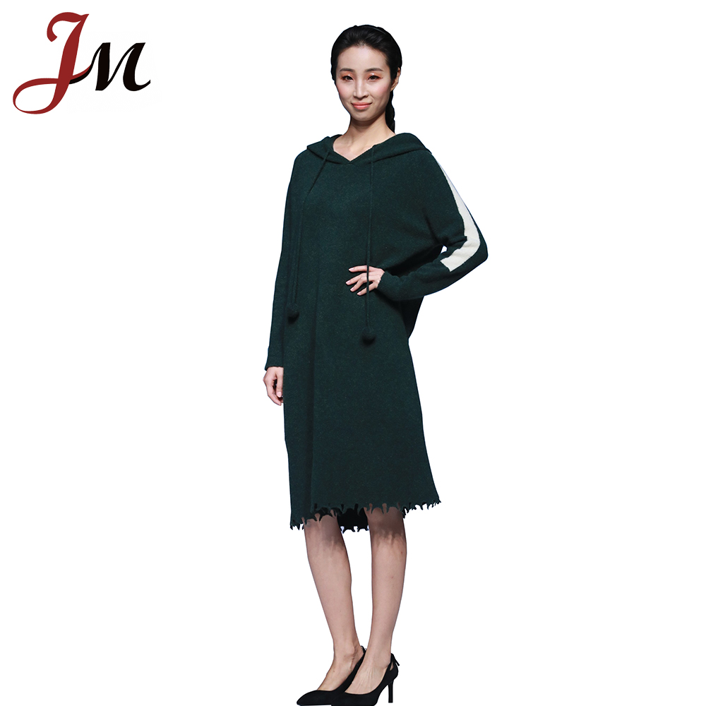 Stylish casual frayed edges pompons long hoodie knit dress
