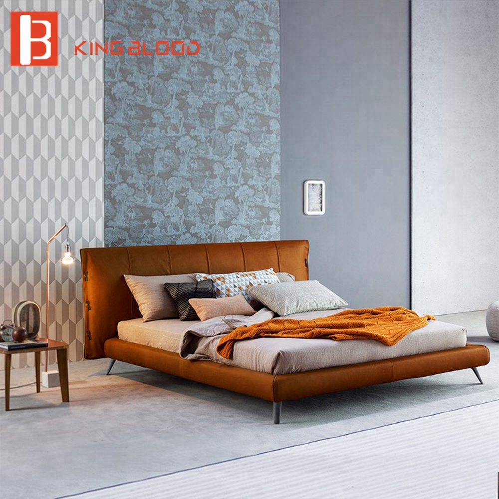 2018 Italian King Size Bed Frame Bedroom Furniture Modern Leather