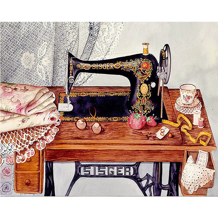 Sewing machine <strong>picture</strong> round or square drill diamond embroidery kits home decoration gift DIY full diamond painting