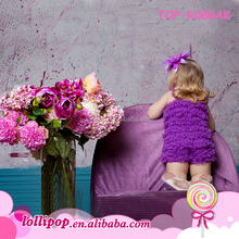 newest design elastic solid color sleeveless soft wear with posh beautiful rosette boutique ruffled lace rompers for baby girls