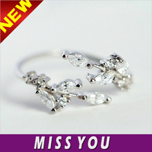 Wholesale 925 Sterling Silver Ring Diamond leaves opening fashion silver jewelry
