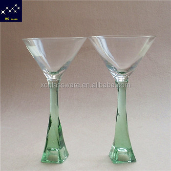 Marvelous Thick Green Stem Red Wine Glass Crystal/gorgeous Martini Glass Thick Green  Stem