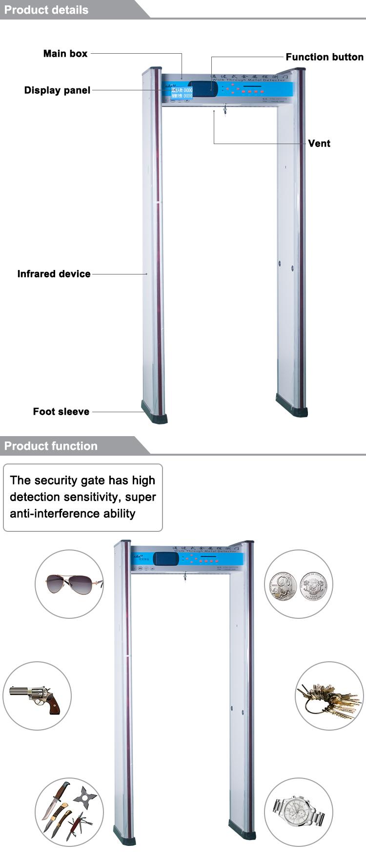 Oem Multi-dimensional Coil Design 33 Distinct Pinpoint Zones Walk Through  Metal Detector For Inspection - Buy Walk Through Metal Detector,Metal