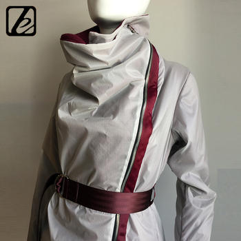 Highly successful cocoon winter lightweight sporty insulating Polar fleece kick pleat&belt white nylon shell rink wrap coat