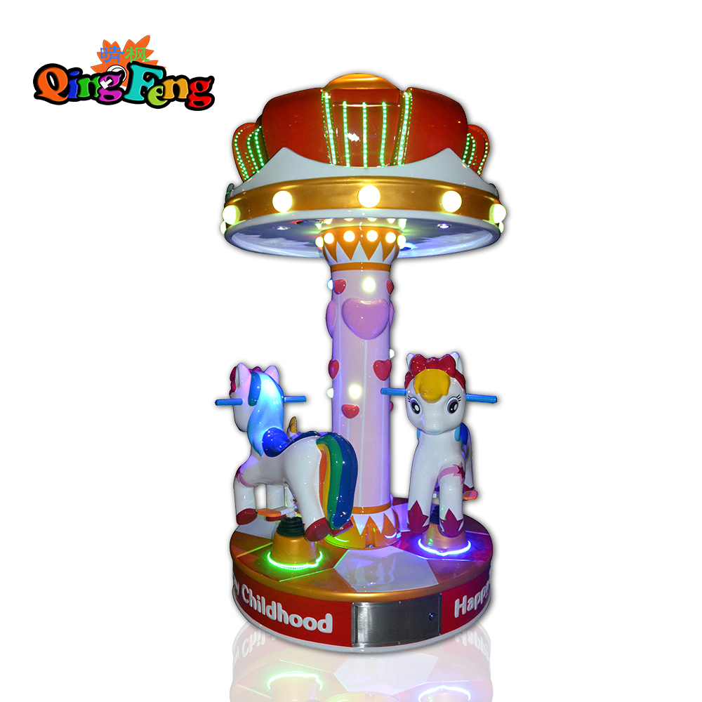 Qingfeng amusement park small 3 seats carousel game machine  ride on horse galloper machine