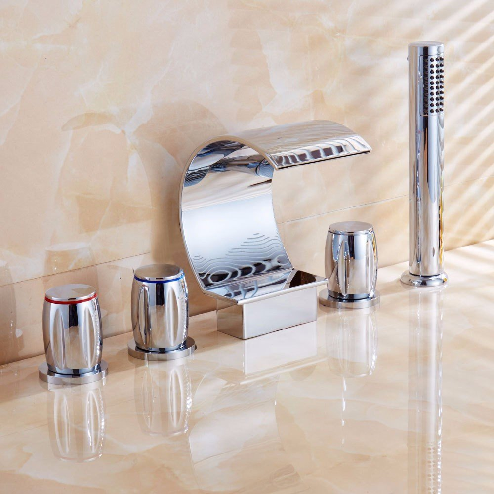 RY@ Widespread Bathroom Faucet/Brushed Nickel Bathroom Sink/Bathroom Sink Faucet/European style Bath Faucet antique pull-two out of the five holes ceramic valve