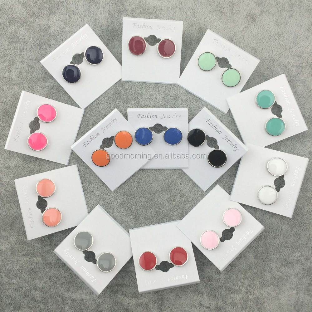 Monogram Enamel Disc Blanks Stud Earrings Personalized Monogrammed