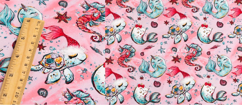 Christmas stretch customize printed cotton knitting fabric for children clothing