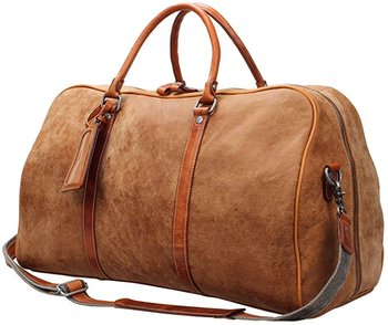Designer Mens Travel Leather Brown Duffle Weekend Overnight Bag