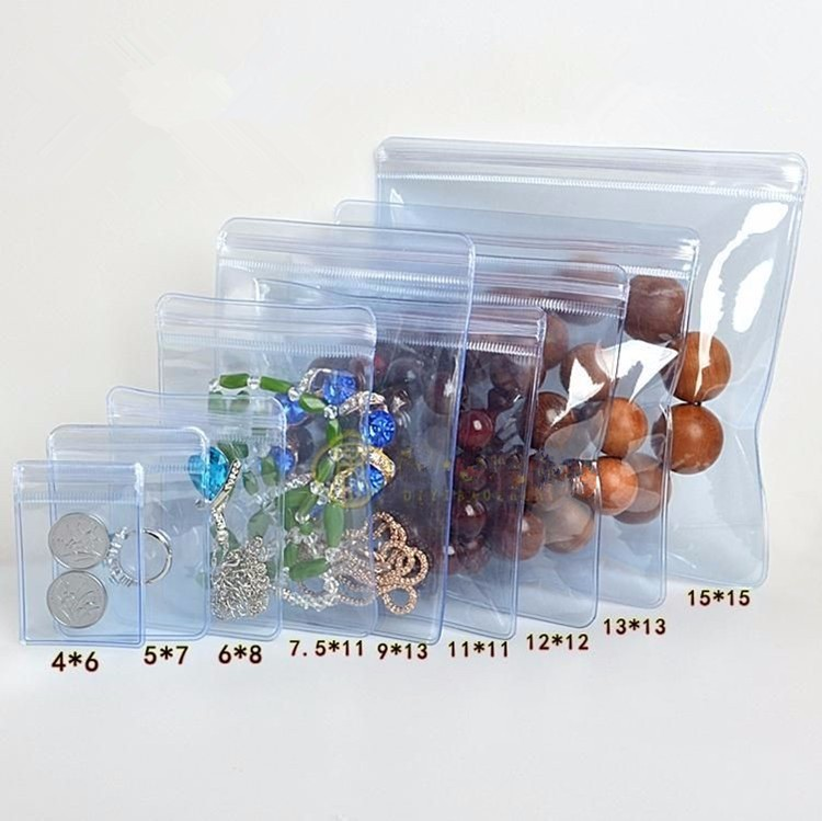 Light Clear Blue Self Sealing Plastic Pendant Bracelet Storage PVC Jewelry Gift Packaging Bags