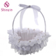 Small Romantic White Satin Bowknot Pearl Flower Girl Basket For Wedding Ceremony Party