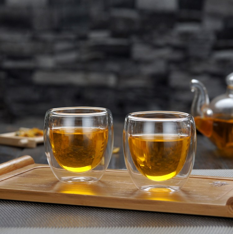 JHROC05 Best Paired with Teapot or Coffee Modern Double Wall Insulated Borosilicate Glass Tea Cup