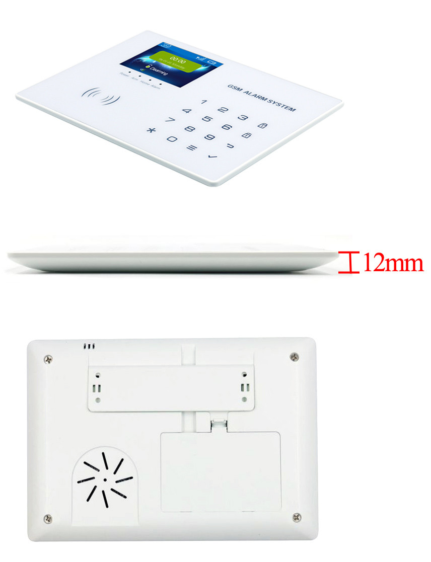 "2017 the newest super thin luxury 2.8""colour LCD touch key 99 wireless zones wifi camera gsm alarm system with 4 wired zone"