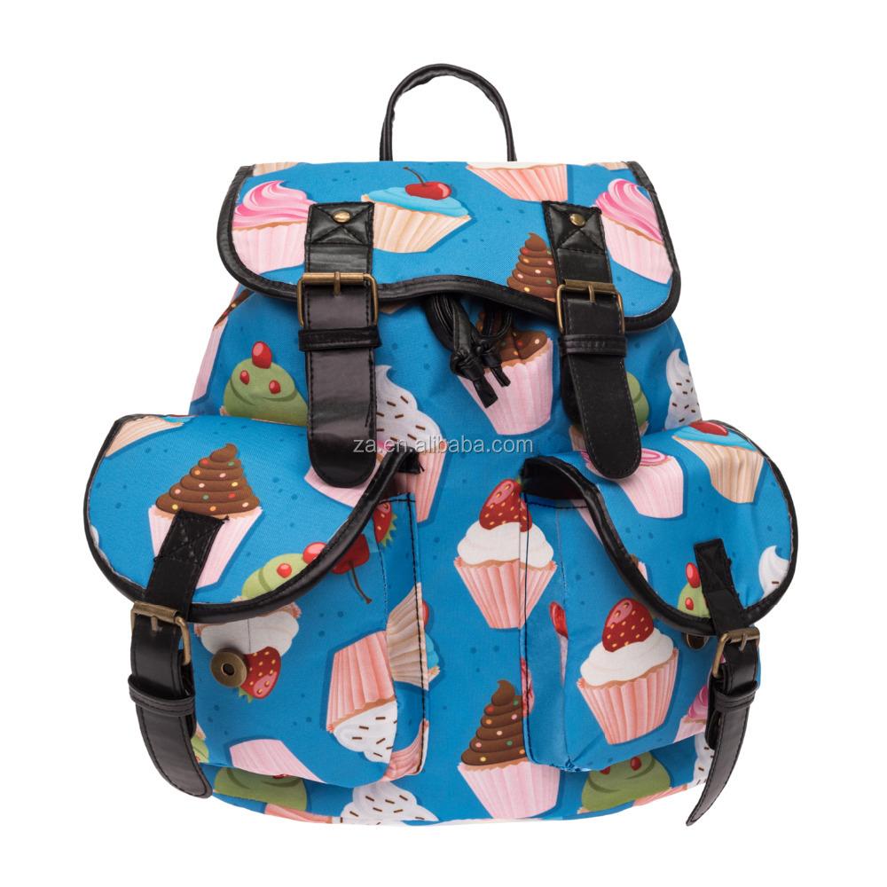 a57b766c0d 2016 3d printed muffin cartoon Vintage Canvas Rucksacks Cute School Satchel  Rucksack Backpack Campus Bag