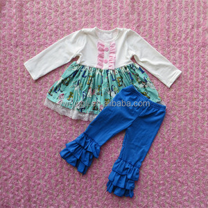 Autumn hot sell new design baby clothes cream long tops cockhorse pattern dress and blue long pants outfits