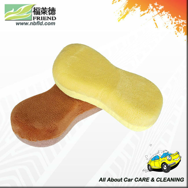 Microfiber Car Wash Sponge with Terry and Coral Fabric