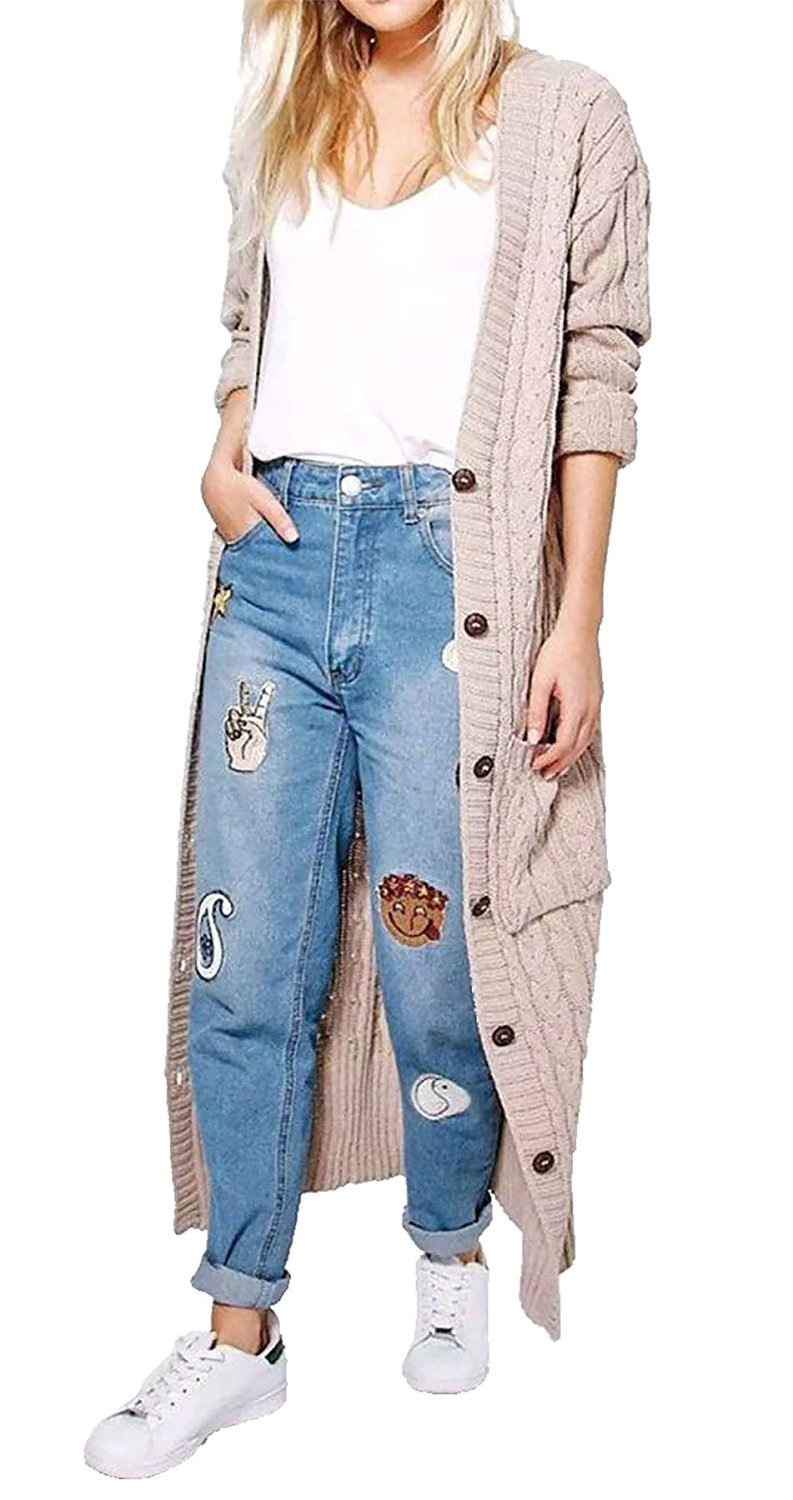 Rimi Hanger Womens 6 Button Cable Knitted Full Length Cardigan Ladies Long Sleeve Cardigan Small/Large