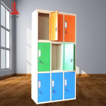 Three Tier Steel Box Ironing Board Storage Cabinet 9 Door Changing Room Locker Closet