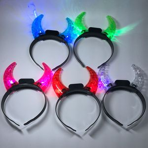 Halloween party supplies customized colorful flashing LED devil horns