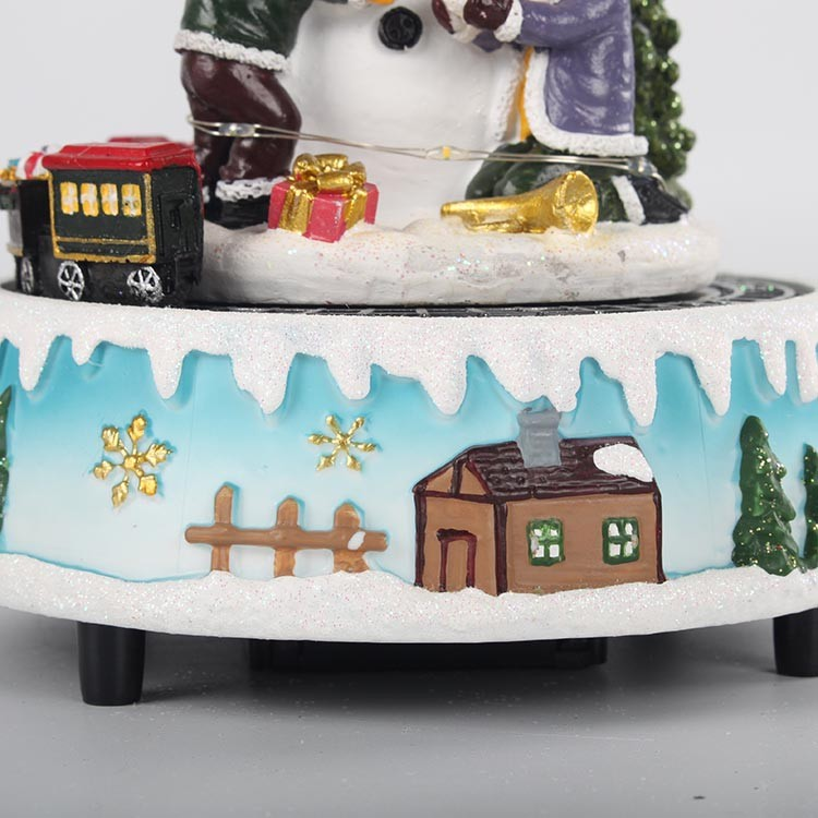 Custom Polyresin Led Musical Xmas tree Scene Rotating snowman Animated Christmas Music Box