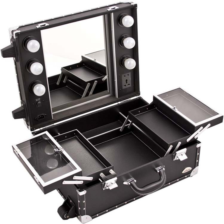 Professional Desktop Rolling Makeup Station Light Mirror Leather Black Case  sc 1 st  Alibaba : makeup box with lights - Aboutintivar.Com