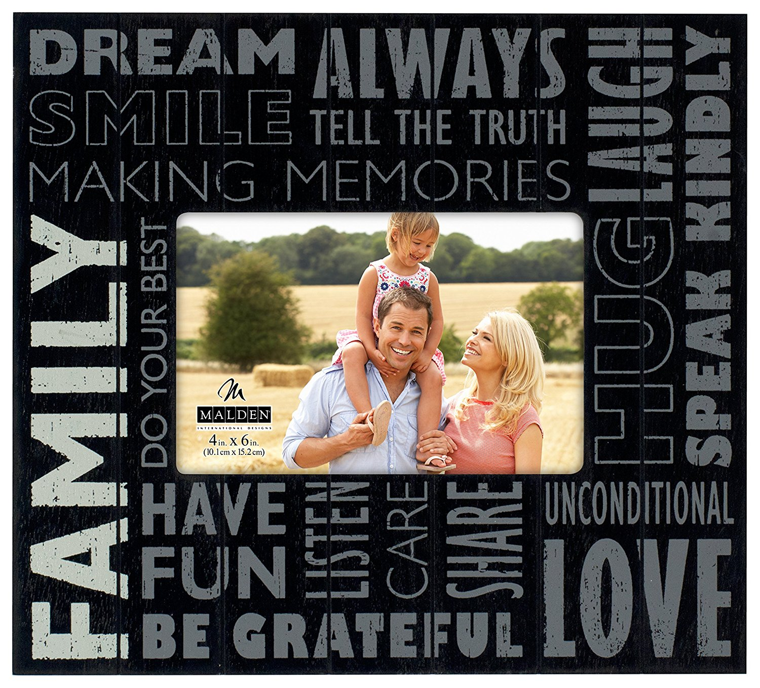 """Malden International Designs Subway Signs Silkscreened on Distressed Routed Wood """"Family"""" Black Picture Frame, 4x6, Black"""