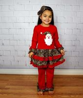 New arrival Christmas outfit lovely children's girl santa embroidery design with red ruffle pants 2pcs Christmas clothes set