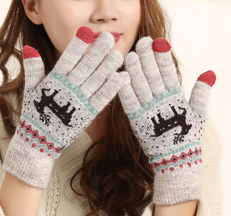 DaLang Custom Merry christmas three fingers touch screen gloves happy hand winter warm gloves girl lovely gloves