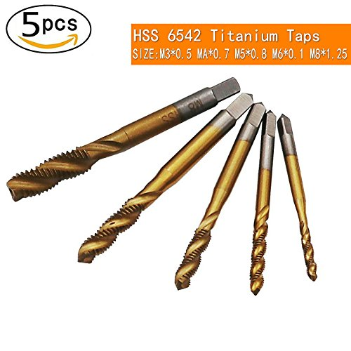 QST-CAIDU 5pcs HSS 6542 Titanium Coated Spiral Flute Metric Taps Set M3 M4 M5 M6 M8